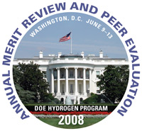 Graphic of the White House with text that refers to the DOE Hydrogen Program Annual Merit Review and Peer Evaluation, Washington, DC, June 9 - 13, 2008.