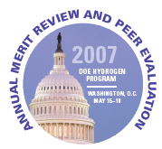 Logo for the 2007 DOE Hydrogen Program Annual Merit Review and Peer Evaluation, May 15-18, Washington, D.C.